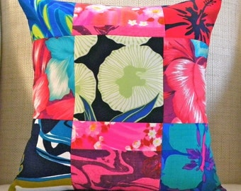 16 x 16 Pillow Cover - Vintage Hawaiian Patchwork - Blue, Black, Pink and Red