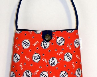 Shoulder Bag - Vintage Patriotic Voting Fabric