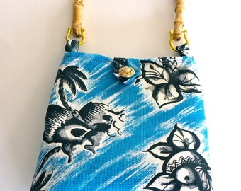 Reversible Evening Out Bag - Vintage Blue and White Tiki Hut