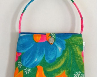 Shoulder Bag - Vintage Tropical Rainbow Flowers