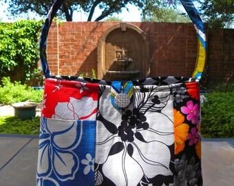 Shoulder Bag - Vintage Patchwork Tropical Floral - Black, White, Blue, Red, Pink