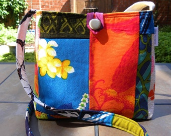 Messenger Bag - Vintage Patchwork Tropical Floral - Blue, Yellow, Orange, Green