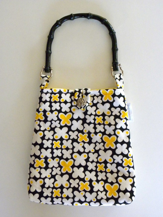 Reversible Evening Out Bag - Vintage Fabric Black, White and Yellow Butterflies