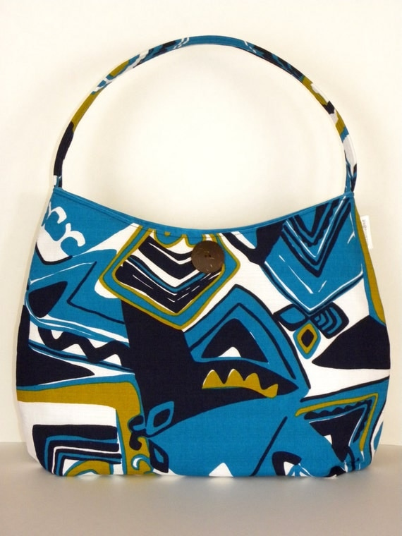 Vintage Fabric Hobo/Tote - Blue Abstract Tiki Barkcloth
