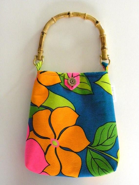 Evening Out Bag - Vintage Bright Blue Floral Barkcloth