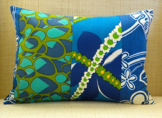 12 x 16 Pillow Cover - Vintage Floral Royal Blue & Green Hawaiian Patchwork