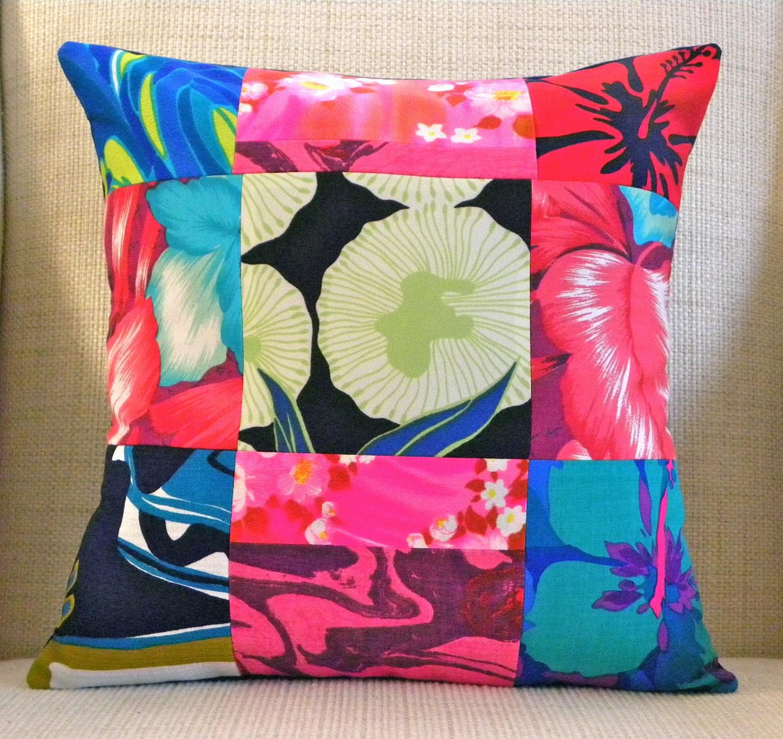 16 x 16 pillow cover vintage hawaiian patchwork blue. Black Bedroom Furniture Sets. Home Design Ideas