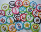 Super Mario Cupcake Toppers Mario Birthday Party Assorted 24 Pack