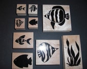 Tropical Fish Wood Mounted Rubber Stamps