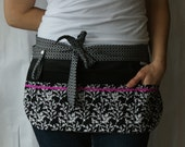 Utility Apron/Half Apron with 8 pockets and loop in black and white fabric with hot pink rickrack accent