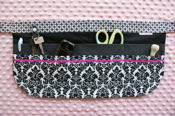 Utility Apron with 8 pockets and hook in Black, White and Pink