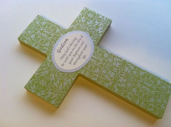 Wood Cross in green and silver for baptism christening first communion new baby