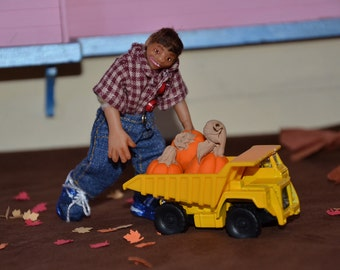 """Dollhouse Doll - 1/12 Scale Miniature Boy - Handmade OOAK Polymer Clay - Posable - """"Charles Addison""""  - with Dump Truck and Pumpkins"""
