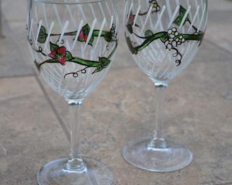 Strawberry Garden - Wine Glass Pair - Handpainted