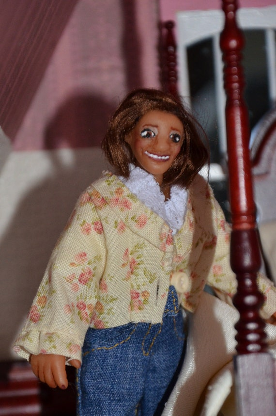 """RESERVED for Minteriors ONLY - 1/12 Scale Dollhouse Doll - Handmade OOAK Woman - Polymer Clay - Posable - """"Kathrine Patricia"""""""