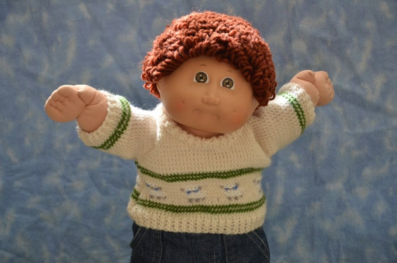 """Cabbage Patch Clothes - Handmade for 16"""" Boy Dolls - Knit Sheep Sweater"""