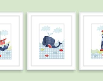Whale, Lighthouse and Tugboat Childrens Art Prints, Nursery Wall Art, Nursery decor -Set of three prints