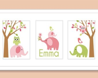 Elephants, Birds, Owls and Tree Childrens Art Prints, Nursery Wall Art -Pink, Brown, and Green- Set of three Personalized