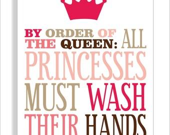 Princess Bathroom Printable Art Print, Girls bathroom wall decor- Wash Your Hands- File Download
