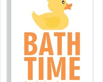 Bathroom Printable Art Print  for Children - Bath Time Rubber Duck - File Download