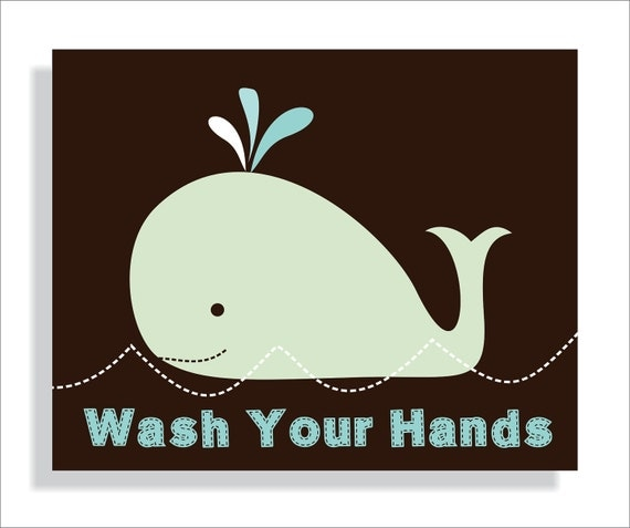 Handmade Spark - fieldandflower - Whale Kids Bathroom Wall Art