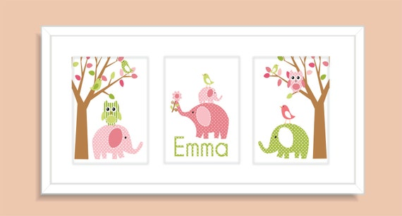 Childrens Art Prints, Nursery Wall Art, Baby room decor , - Elephants, Birds, Owls and Tree- Pink and Green- Set of three 11x14 Personalized