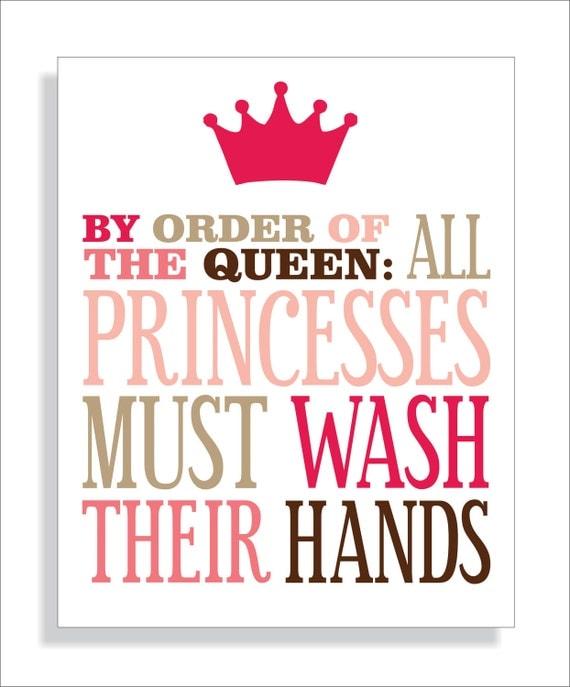 Princess Bathroom Art Print, Girls bathroom wall decor- Wash Your Hands-Kids Wall Art Typography