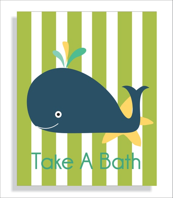 Navy Blue And Green Wall Decor : Items similar to navy blue whale children s bathroom wall