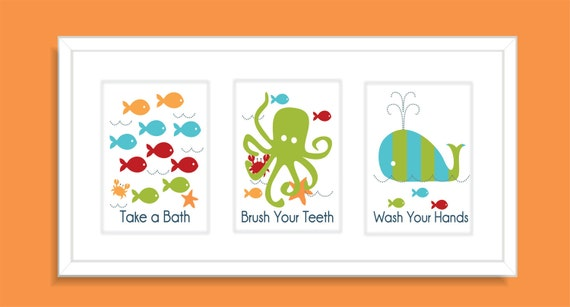 Wall Art For Childrens Bathroom : Items similar to fish octopus and whale children s wall