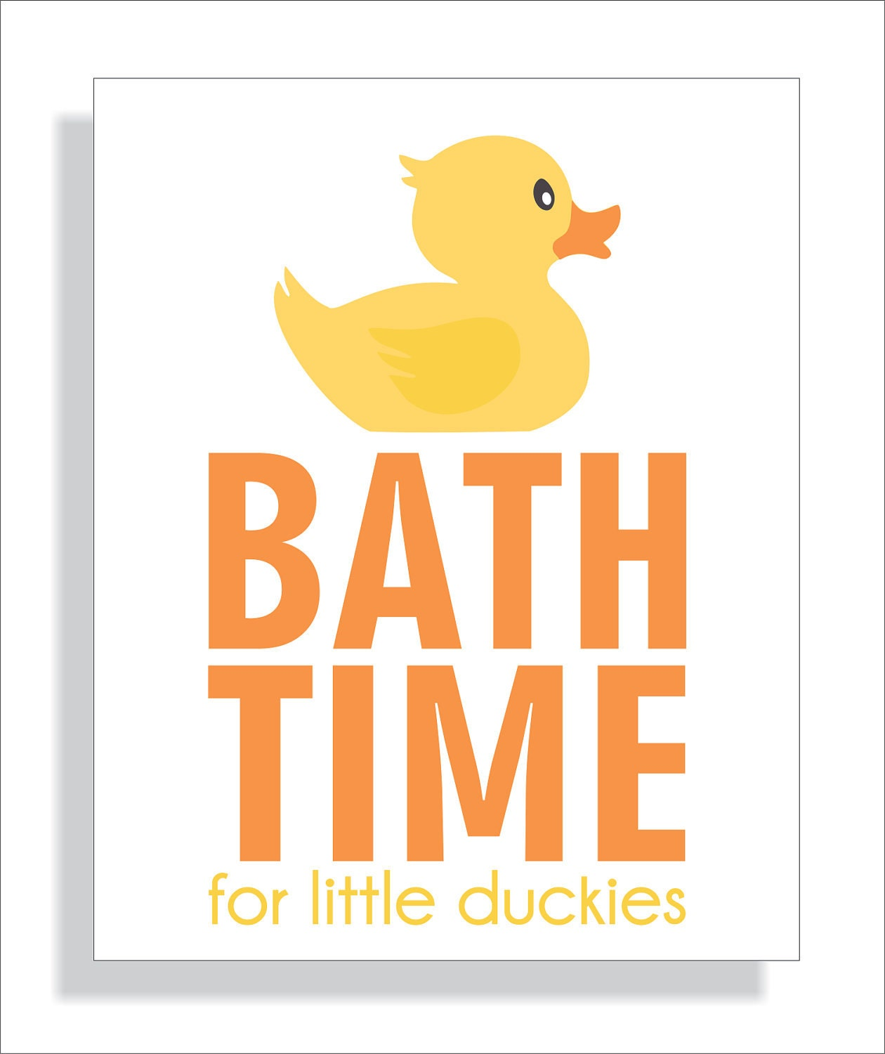 Bathroom art print for children bath time rubber duck