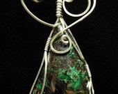 Dark Gray and Green Stone Sterling Silver Wire Wrapped Pendant
