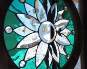 Emerald Flower Burst Classic Stained Glass, Stained Glass, Stained Glass Window, Beveled Glass