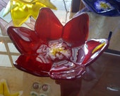 Red Lotus Flower Bowl, Fused Glass Bowl, Slumped Glass Bowl, Flower Bowl, Glass Bowl
