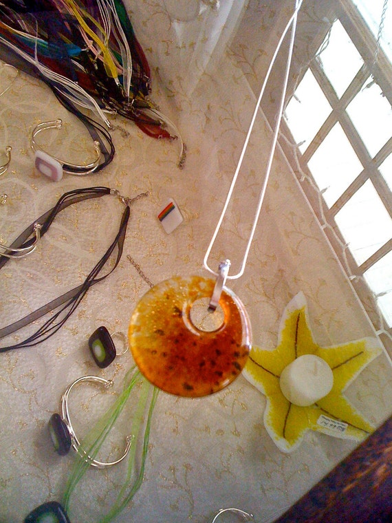 Clear Amber and Brown Fused Glass Donut Pendant
