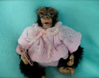 Chimp, Chimpanzee, Monkey, Ape, OOAK, Polymer clay, Sculpture