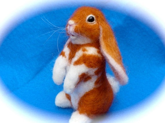 Needle Felted, Brown and white Lop Ear, Bunny, Hare, Rabbit, OOAK,
