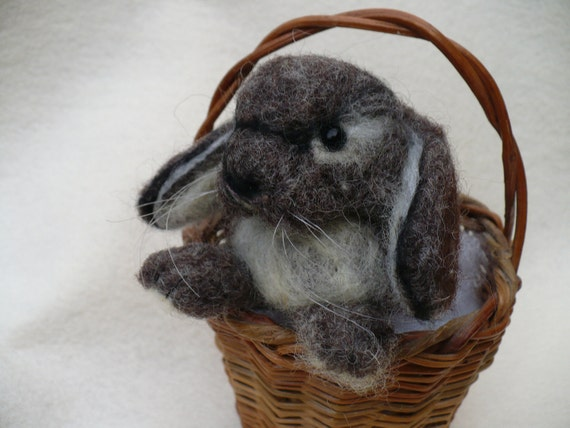 Miniature, Needlcrafted, Needle felted  Rabbit, Hare, Bunny, Lop ear, OOAK