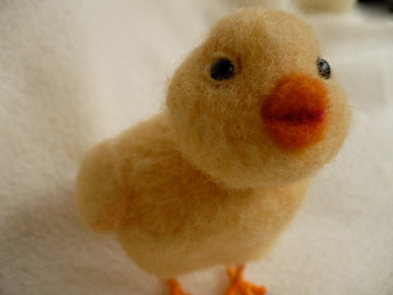 Needle felted Miniature Chick Needlecrafted Chicken OOAK by grannanacan