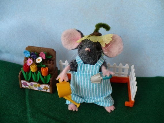 Miniature Grey Gardening  Mouse, Mice,OOAk
