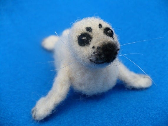 Needle felted Collectible Baby Seal pup OOAK