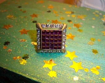 Large Beautiful Brass Crystal Art Deco Style Cocktail Ring Size 8 1/2
