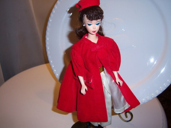 Vintage 1962 Barbie Red Flare Coat, Hat, and Purse