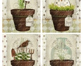 Herb pots  Original digital art  Cardmaking journaling paper crafts