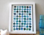 Geometric art collage pattern in blue, green, turquoise, teal and aqua, handmade geometric art