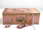 Dusky pink vintage tin box with art deco flowers, New York