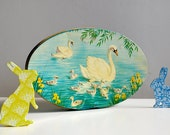 RESERVED Spring scene swan and cygnets vintage tin in blue, green and yellow