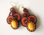Soutache earrings with orange howlite - NO SHIPPING COST