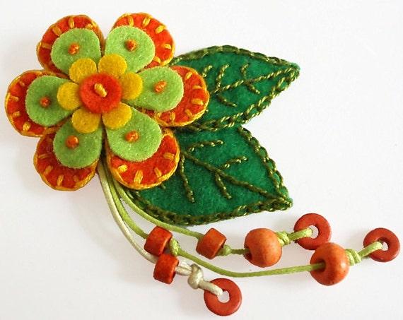 SALE Flower Brooch Orange Felt Flower with Decorative