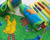 RESERVED For Daria (10) Crayon Roll Favors in Sesame Street Fabric