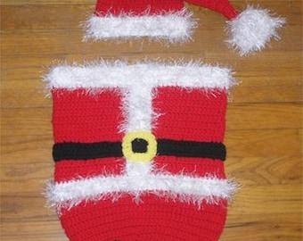 SALE: Instant Download - Crochet Santa Cocoon and Hat Set Pattern PDF - Christmas Crochet Pattern - Photography prop
